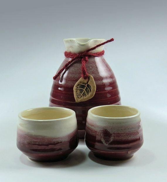 Red Stoneware Sake Set for Two - NelaCeramics Gallery
