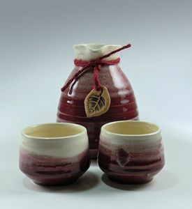 Red Stoneware Sake Set for Two