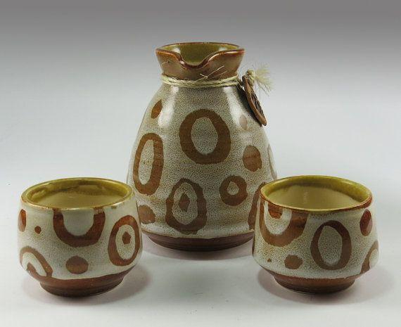 Stoneware Sake Set for Two - NelaCeramics Gallery