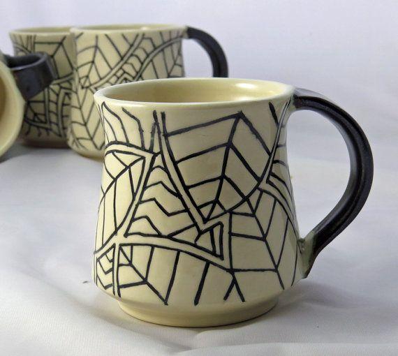 Coffee Mug in Black and White - NelaCeramics Gallery