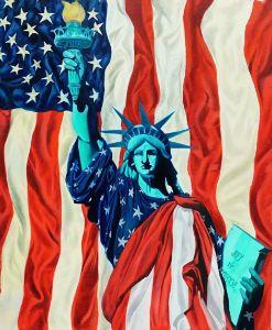 Americanism- Statue of Liberty - Isha Paintings