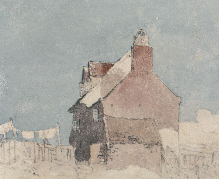 David Cox~Cottage at Northfleet, Ken - Old master