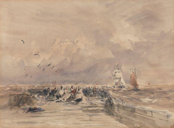 David Cox~Dieppe Pier, Stiff Breeze - Old master