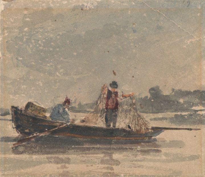 David Cox~Fishermen Drawing a Net - Old master