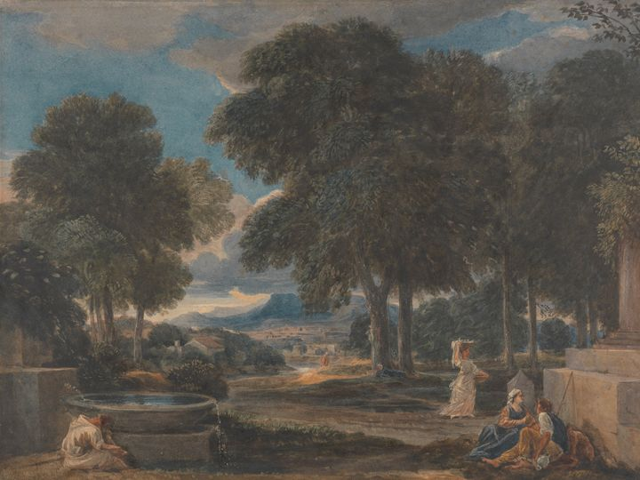 David Cox~Landscape with a Man Washi - Old master