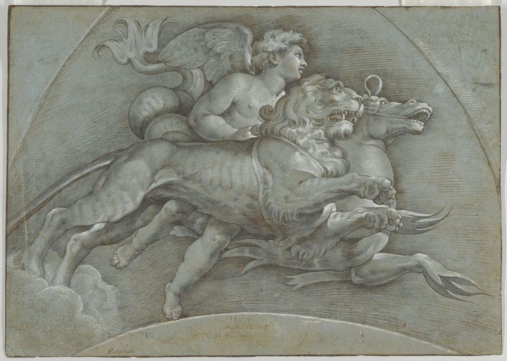 Denis Calvaert~A Winged Putto Riding - Old master