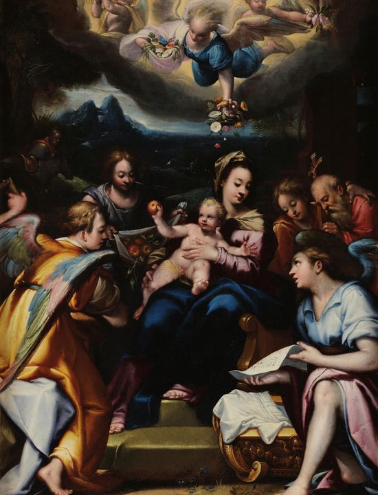 Denis Calvaert~Holy Family with Ange - Old master