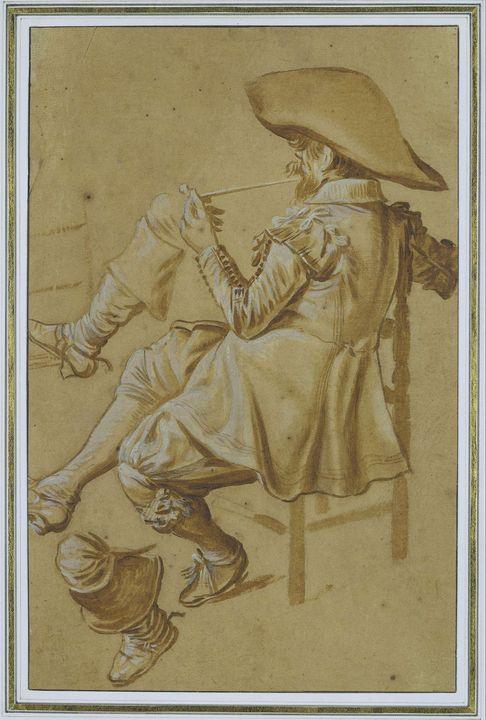 Dirck Hals~Sitting Pipe Smoker - Old master