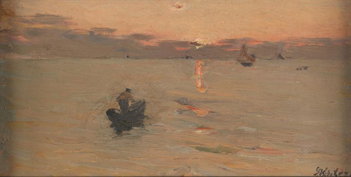 Döme Skuteczky~Fisherman at Sea - Old master