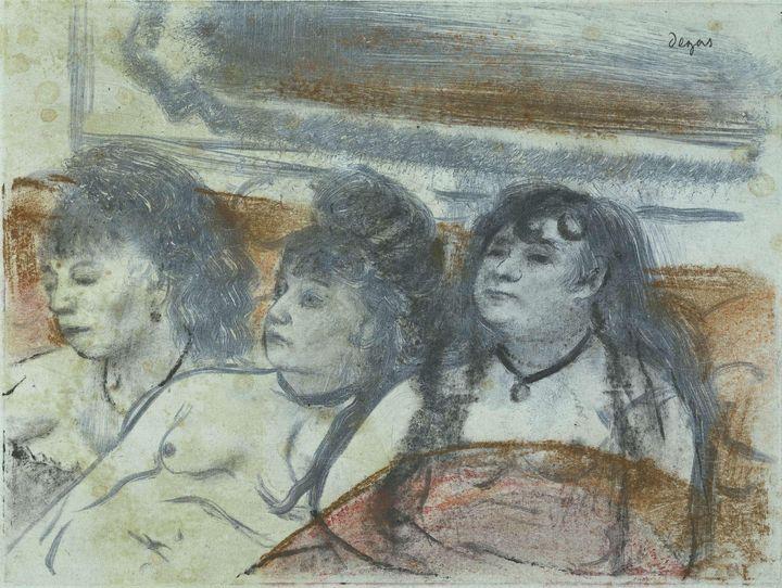 Edgar Degas~Drie vrouwen in een bord - Old master