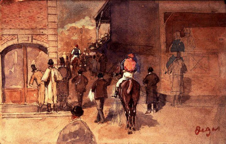 Edgar Degas~Leaving the Paddock (La - Old master