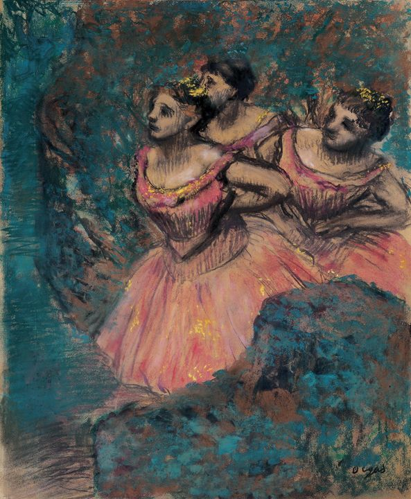 Edgar Degas~Three Dancers in Red Cos - Old master