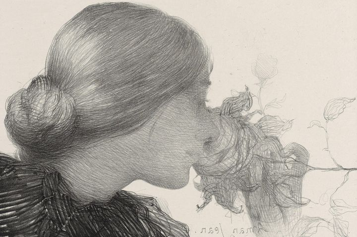 Edmond Aman-Jean~Woman Smelling a Ro - Old master