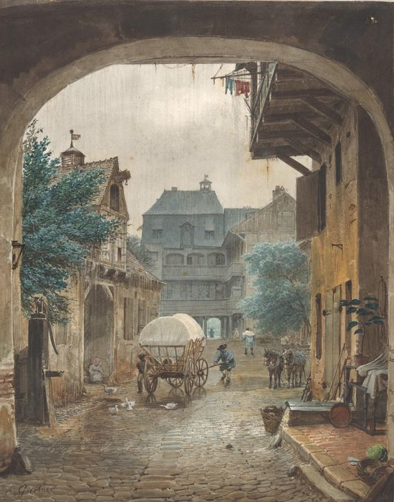 Eduard Gaertner~View into the Courty - Old master