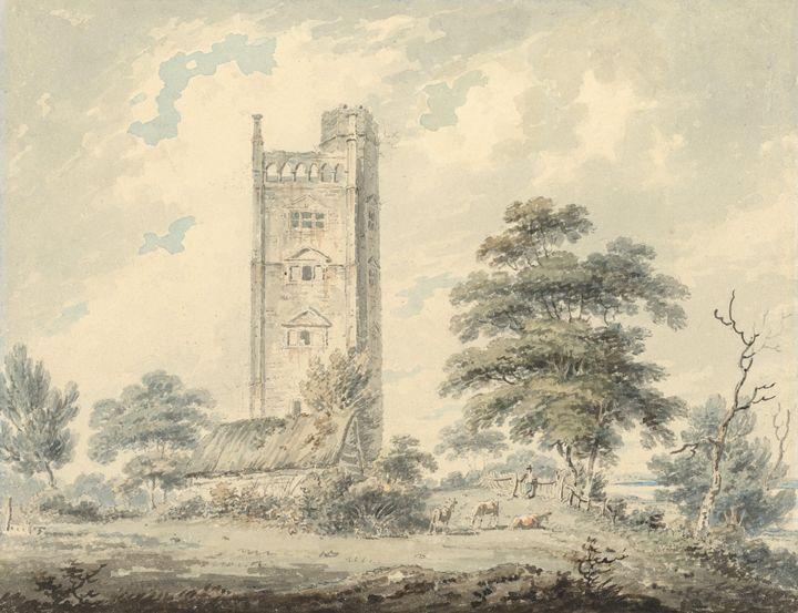 Edward Dayes~Freston Tower, Suffolk - Old master