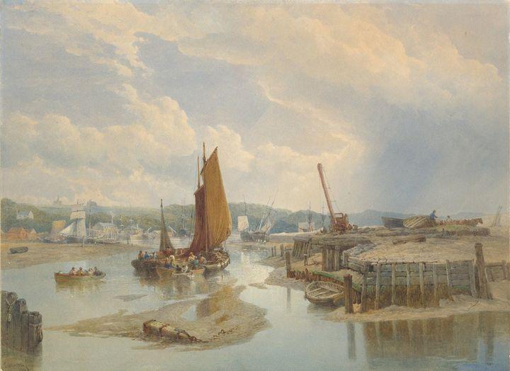 Edward Duncan~A Town on an Estuary a - Old master