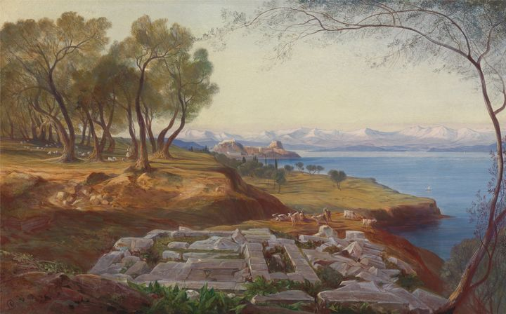 Edward Lear~Corfu from Ascension - Old master