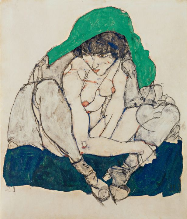 Egon Schiele~Crouching Woman with Gr - Old master