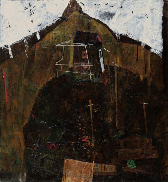 Egon Schiele~Landscape with Ravens - Old master
