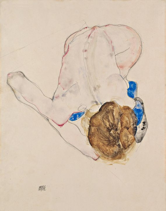 Egon Schiele~Nude with Blue Stocking - Old master