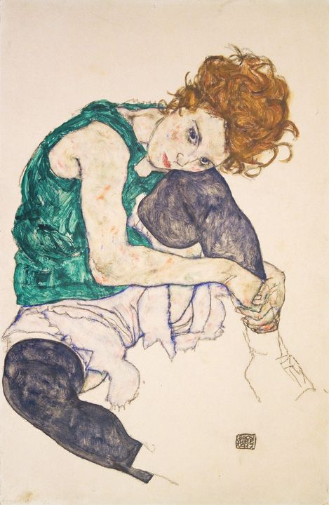 Egon Schiele~Seated Woman with Legs - Old master