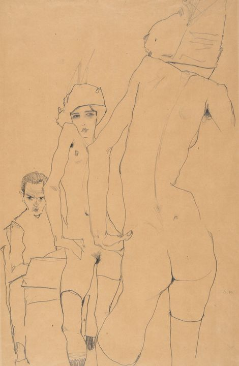 Egon Schiller~Schiele with Nude Mode - Old master