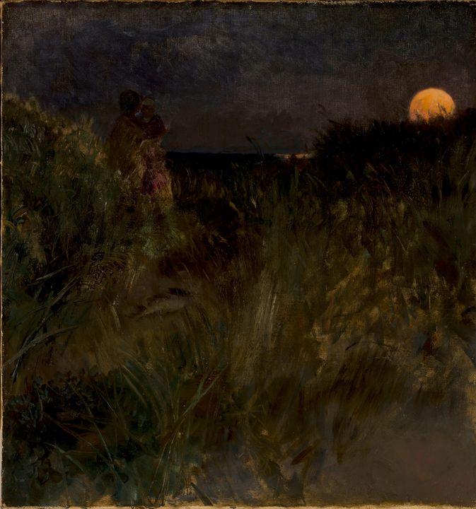Eilif Peterssen~Moonrise over the du - Old master