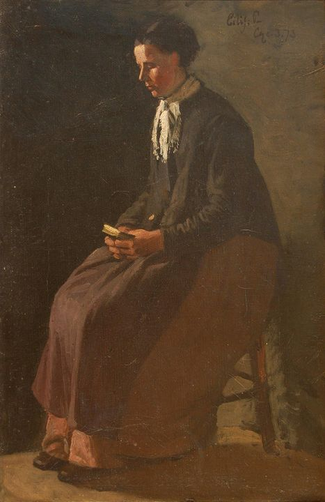 Eilif Peterssen~Seated Woman - Old master