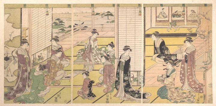 Eishi~鳥文斎栄之画 和歌三神図Honoring the Three - Old master