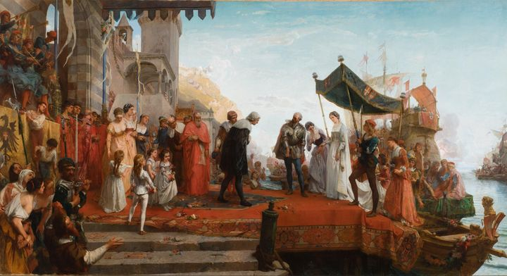 Enrico Gamba~The Arrival of Princess - Old master