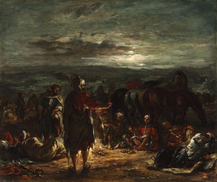 Eugene Delacroix~An Arab Camp at Nig - Old master
