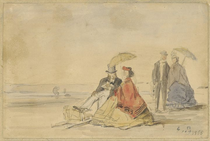 Eugène Boudin~A Couple Seated and a - Old master