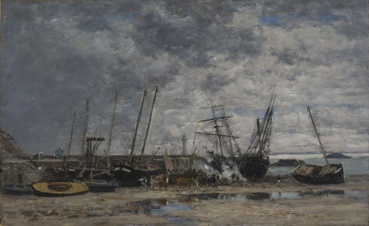 Eugène Boudin~Portrieux Harbor - Low - Old master