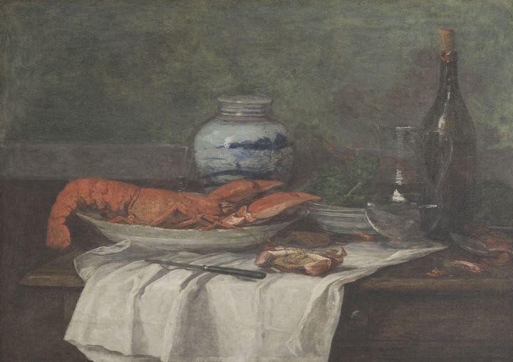 Eugène Boudin~Still Life with Lobste - Old master