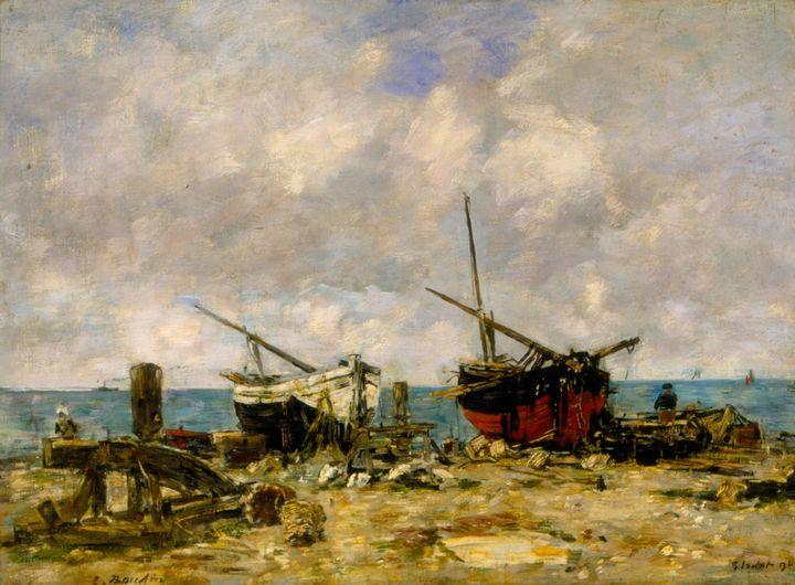 Eugène Boudin~Étretat. Run aground b - Old master
