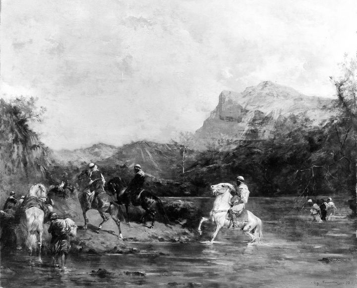 Eugène Fromentin~Arabs Crossing a Fo - Old master