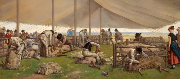 Eyre Crowe~A sheep shearing match - Old master