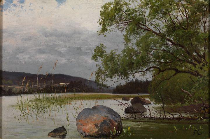 Fanny Churberg~Shore landscape - Old master