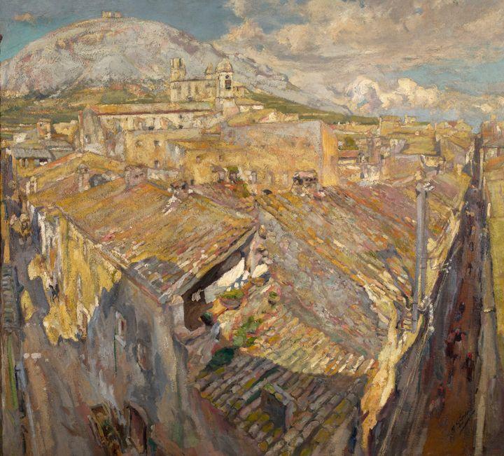 Francesc Gimeno~A Village in L'Empor - Old master