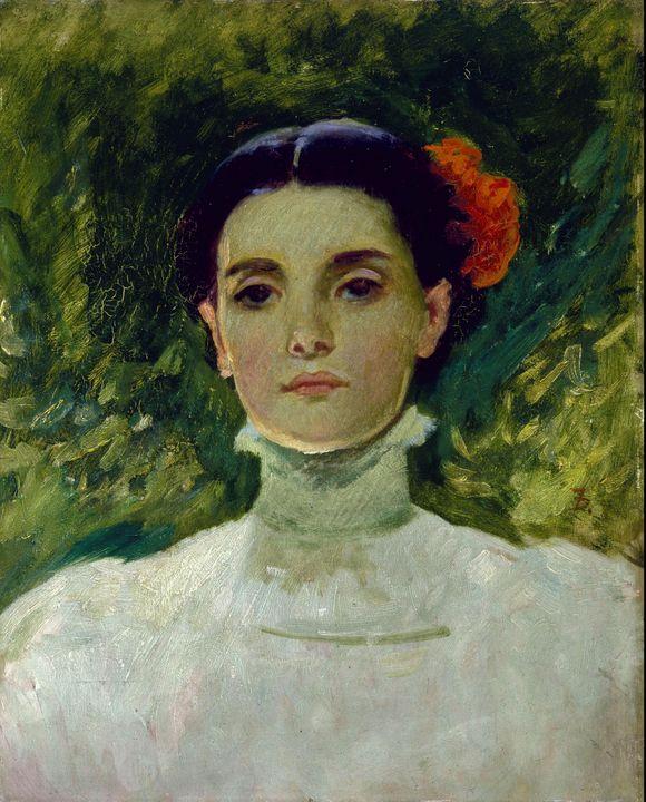 Frank Duveneck~Portrait of Maggie Wi - Old master