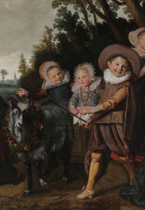 Frans Hals~Three Children with a goa - Old master