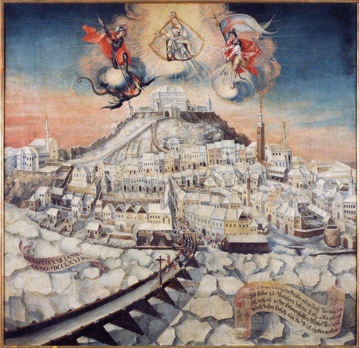 Franz Josef Fellner~Ice on the River - Old master