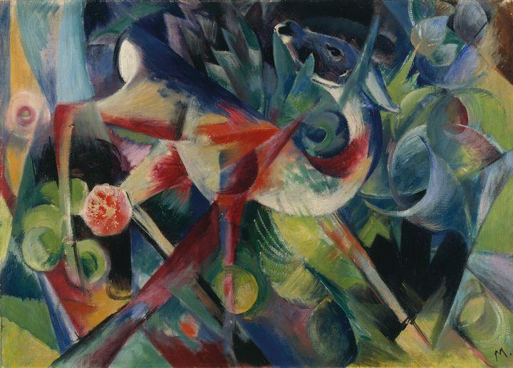 Franz Marc~Deer in the Flower Garden - Old master