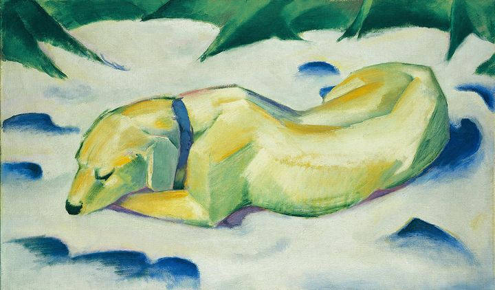 Franz Marc~Dog Lying in the Snow - Old master