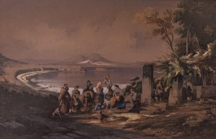 Consalvo Carelli~View of Naples from - Old master