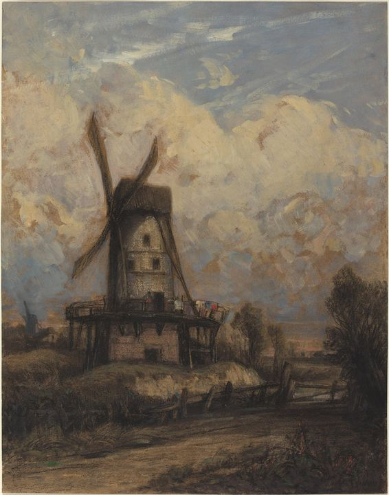 Constant Troyon~A Windmill against a - Old master