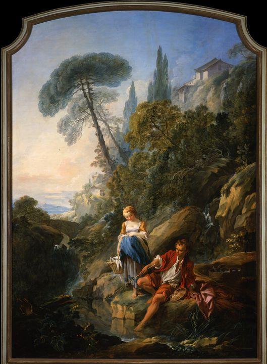 François Boucher~Pastorale A Peasant - Old master
