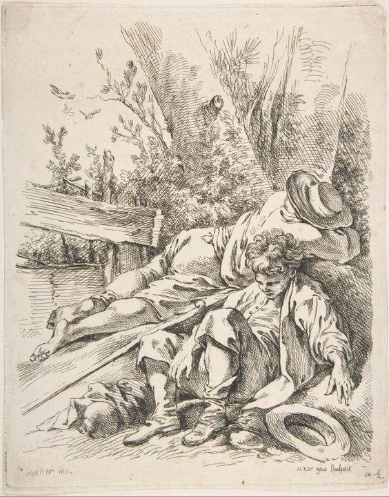 François Boucher~Two Boys Sleeping B - Old master