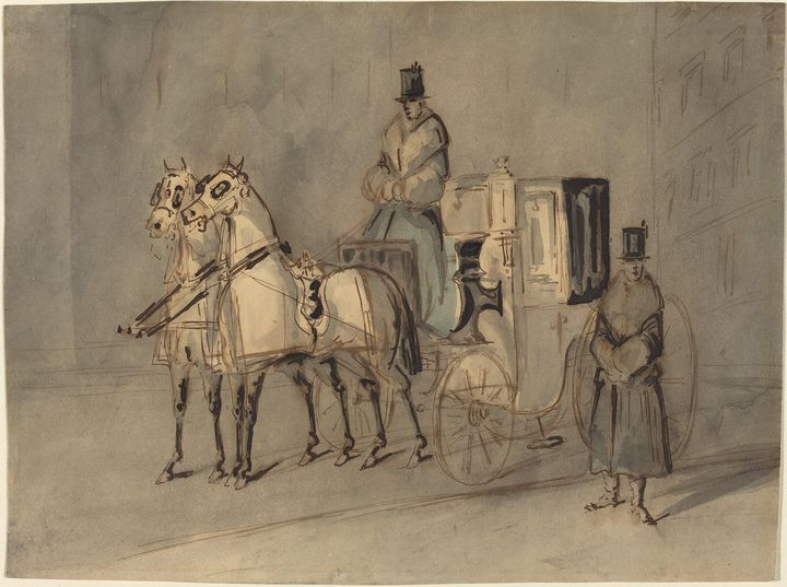 Constantin Guys~Carriage with Driver - Old master