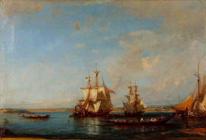 Félix Ziem~Caiques and Sailboats at - Old master